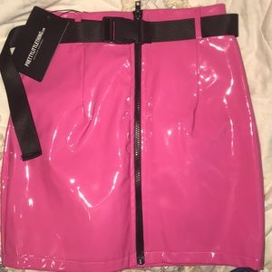 Neon Pink Vinyl Belted Mini Skirt